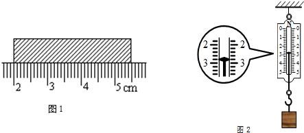 如图1所示,用刻度尺测量木块的长度,则测量值为3.