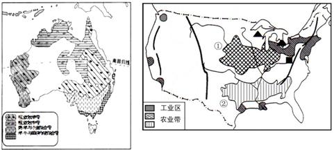 回答下列问题. 1 澳大利亚的人口和城市主要分布在东南沿海地区.试图片