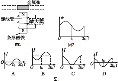 拾音器的原理图,在金属弦的下方放置有一个连接到放大器的螺线管.