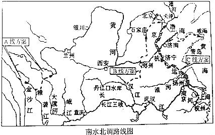 """12.结合材料和""""南水北调路线图"""",回答问题."""