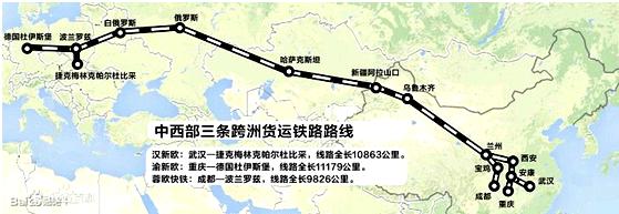铁路线,跨越了亚洲和欧洲,其中运距最长的是渝新欧,该线路起点是我国