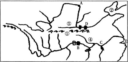 读长江.黄河水系图 .回答问题.属于东西走向.是