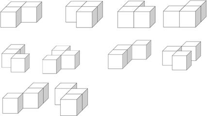 用三个大小相同的小正方体搭一搭,使正面看到的形状是,你能搭出几种?