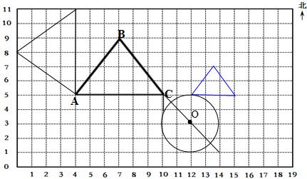 如图每个小正方形的边长表示1厘米,请按要求画图形.