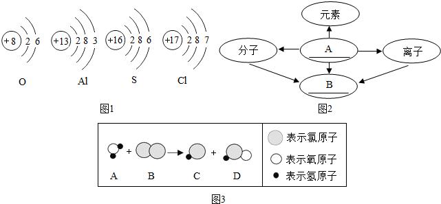 初中化学 题目详情  (1)根据下列元素的原子结构示意图1填空.