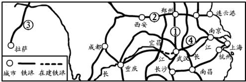 (1)写出图中数字代表的铁路线名称①京广线②陇海线③青藏铁路 (2)南