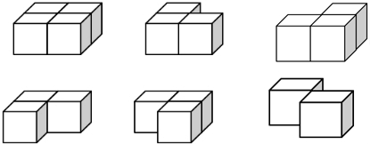 从前面和左面看到的图形都是,组成这个立体图形最少需要2个小正方体图片