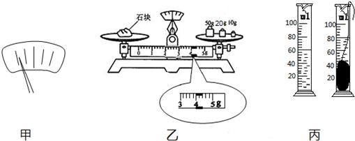 (2)采一块小矿石,用调好的天平测它的质量,天平平衡时,右盘中砝码的