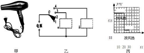 (1)图乙是电吹风的电路示意图,图中开关所在的位置表示触点0与触点1,2