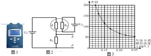 图1为某酒精检测仪,工作时简化电路如图2所示.u c=3v,u h=4v.