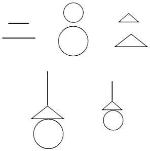有①两条线段;②两个三角形;③两个圆,各组图形形状相同,大小比为2:1