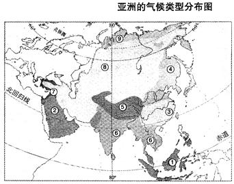 亚洲图片二区_读亚洲气候类型分布图,回答问题