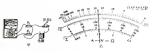 在练习使用多用电表的实验中,某同学把多用电表连入如图甲所示的电路
