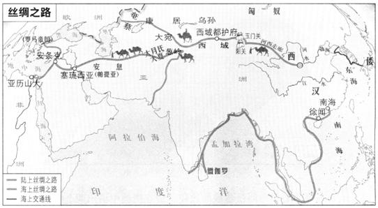题目详情  (1)观察上图,结合所学,请回答: • 汉代丝绸之路的图片