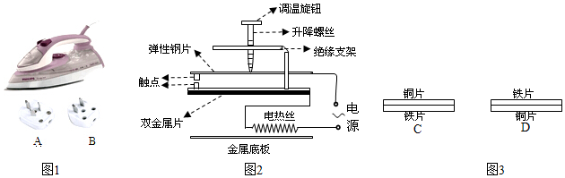 (1)电熨斗主要是利用了电流的热(选填热磁)效应进行工作的;为了安全用电,该电熨斗的电源线插头应选图1中的A(填AB). (2)如图3中,两种双金属片中符合电熨斗安装要求的是C(选填C或D). (3)电熨斗通电工作时,若突然断开电源,两触点不会(选填会不会)断开. (4)将调温旋钮上的升降螺丝下调时,弹性钢片的弹性势能A. A.增大 B.减小 C.不变 D.以上都有可能 (5)熨烫完棉织品衣服再熨烫化纤衣服,调温旋钮上的升降螺丝向上(选填向上向下不)调.