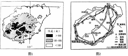 (1)受海南岛地势的影响,海南省的气温在夏季的时候分布特点是中部低