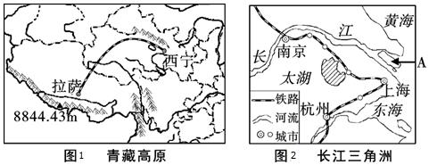 (3)长江三角洲有我国第三大岛 a崇明岛,也是我国最大冲积岛.