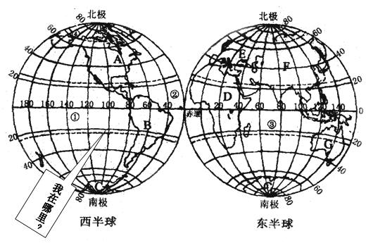 """8.读""""东西半球海陆分布图"""",完成下列各题"""