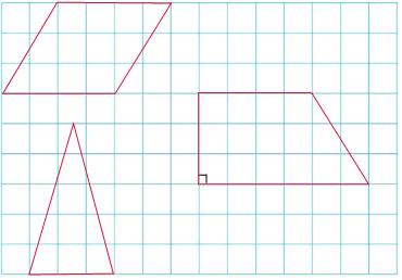 按要求.在方格纸上画出下面图形. 每个小方格的边长是1cm 1 底是4cm.高是3cm的平行四边形. 2 底是3cm.高是5cm的三角形. 3 上底是4cm.下底是6cm.高是3cm的直角梯形