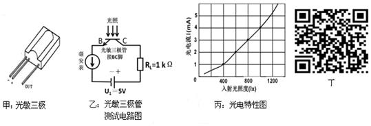 利用如图乙所示测试电路对某型号光敏三极管进行光电特性测试,得到