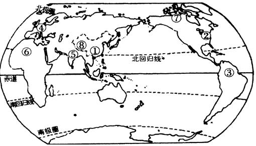 ③地人口稀疏的原因是是原始的热带雨林;⑧地人口稀疏的原因是空