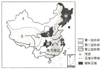 """读""""中国地势三级阶梯和四大地理区域示意图"""",完成下列各题.图片"""