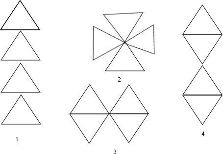 22,用三个等边三角形可以拼成不同的轴对称图案,请你先欣赏下面的图案
