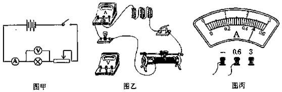 8v的小灯泡,小丽同学按电路图甲连接实物图乙,但电压表还没有接入,请