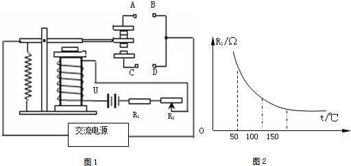 如图是电磁继电器控制电动机的电路,其中________是电磁铁,________是衔铁.当开关S闭合时,控制电路________,电磁铁________,衔铁被________,________电动机启动,________电动机停止工作.
