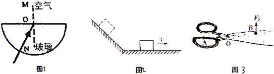 29,如图所示,入射光线从半圆形玻璃射向空气,在玻璃和空气的水平界面