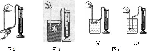 """u形管-在做""""探究影响液体压强大小因素 的实验时.同学们设计了如图所示的实验探究方案.图中金属盒在液体中的深度相同.实验测得几种情况下压强计的U形管两侧液面高度差的大小关系是h4>h1=h2>h3.(1)实验"""
