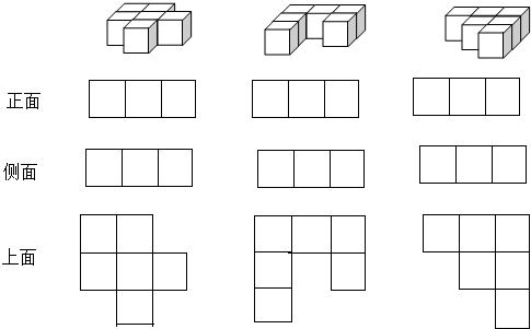 有6个同样大小的正方体分别摆成下面的样子,从( )面看这三个物体的