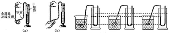 """u形管-在研究液体压强的实验中.(Ⅰ)当压强计的金属盒在空气中时,U形管两边的液面应当相平,而小明同学却观察到如图(a)所示的情景.出现这种情况的原因是:U形管左支管液面上方的气压______大气压(填""""大于"""