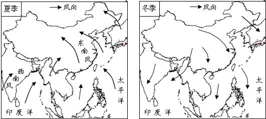 手绘中国气候图