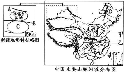 读中国主要山脉河流分布图,回答下列问题.