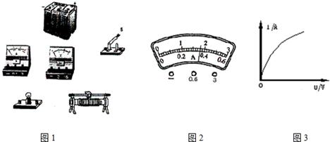 """测定小灯泡额定功率的实验器材如图所示,其中小灯泡上标有""""3."""