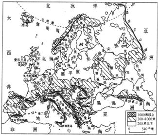 读欧洲地形图 .回答: (1) 欧洲位于南北半球中的