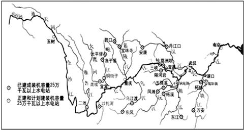 读长江流域水系图 .长江干流北侧的支流从上游