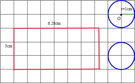 画一个底面直径是2厘米,高3厘米的圆柱体的表面展开图(每个方格边长1