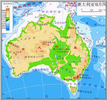 读澳大利亚地形图. ①主要地形: a b c ②.地形特点与图片