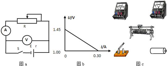 """在""""测一节干电池电动势和内阻""""的实验中,某同学利用如图a所示的电路"""