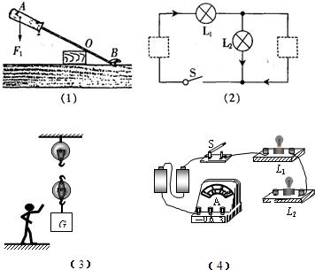 符号中选出两个元件符号,分别填进电路的空缺处,填进后要求灯泡l