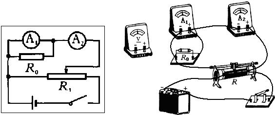 (3)根据串并联电路的特点,通过定值电阻的电流i r=i 2-i 1,则电流表a