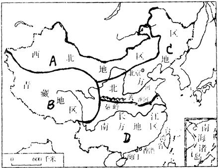读图中国四大地理区域图完成.