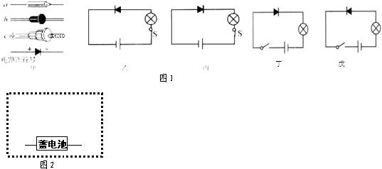 将二极管与一个小灯泡,一个开关串联接在干电池两端