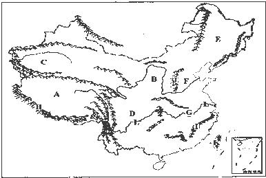 """读""""中国地形图"""",回答下列问题."""