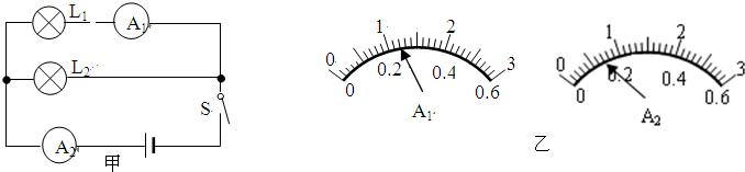 两个灯泡并联,将两个电流表分别接入如图甲所示的两个位置测量,此时
