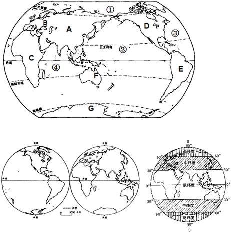 """读各类""""七大洲,四大洋""""等地图,完成下列各题."""