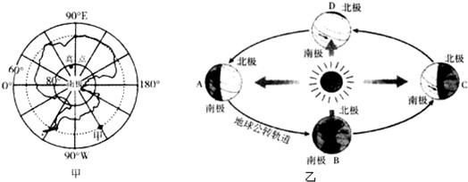 """读图1""""南极地区经纬网图""""和图2""""地球公转示意图"""",完成下列问题."""