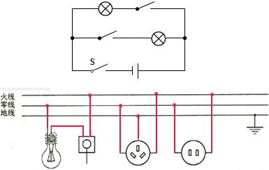 接的图.画出其电路图. 2 请把图中螺口电灯.开关.三孔和两孔插座接到